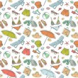 Hand drawn retro summer beach set seamless pattern - Stock Vector