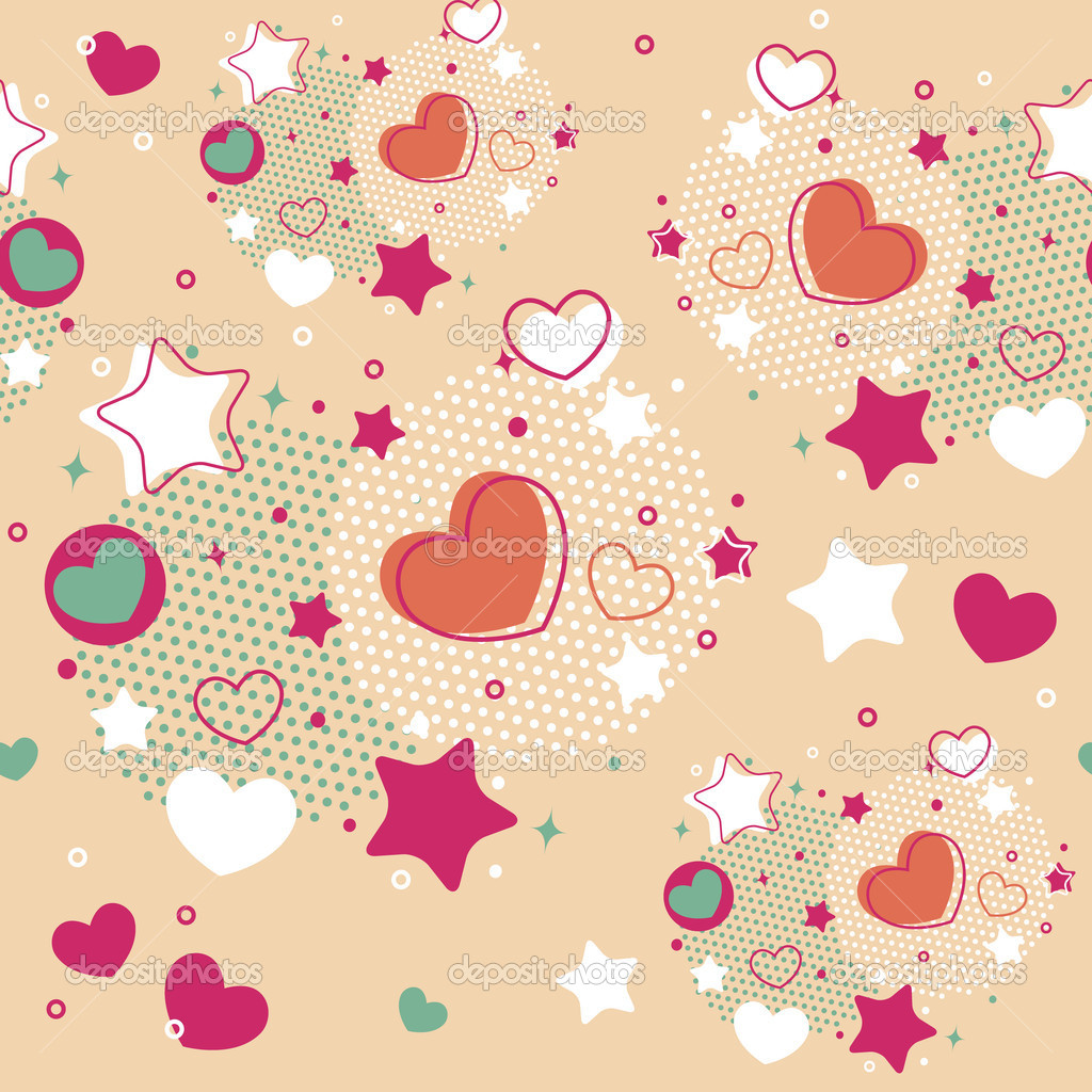 Cute Valentine seamless pattern with hearts, stars and halftone — Stock Vector #18999491