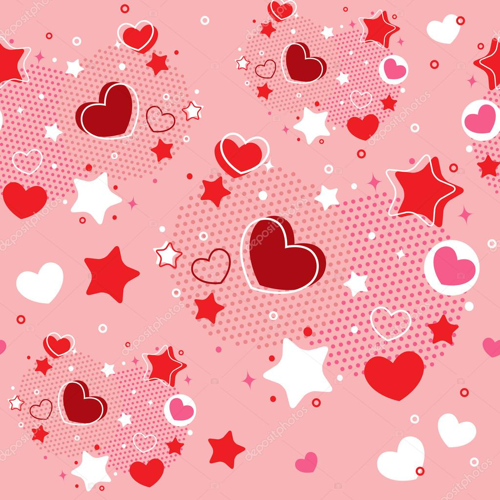 Cute Valentine seamless pattern with hearts, stars and halftone  Stock Vector #18999499