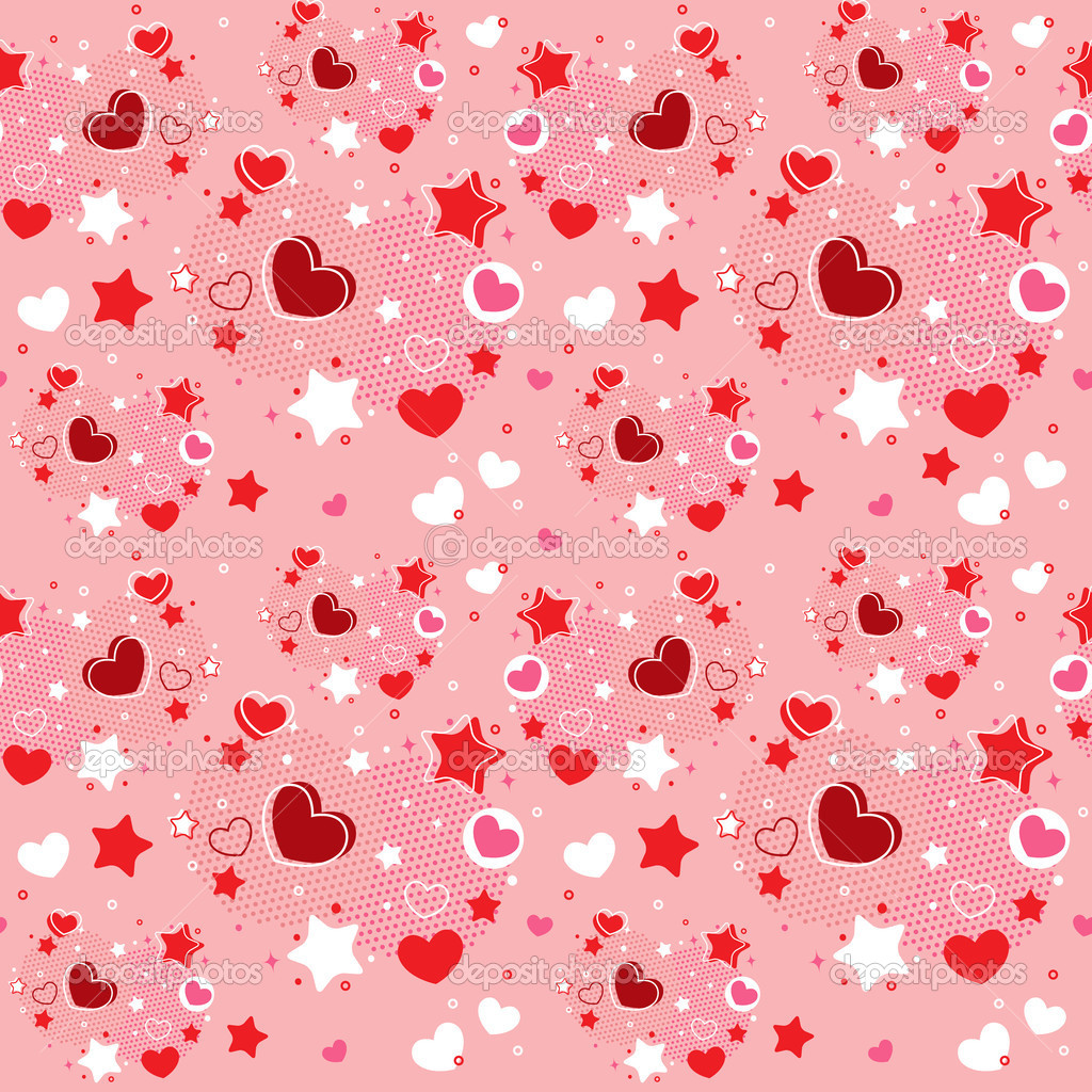 Cute Valentine seamless pattern with hearts, stars and halftone — Stock Vector #18999503