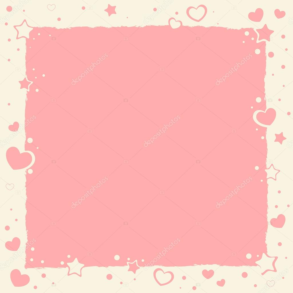 Valentine love romantic frame with hearts and stars — Stock Vector #18999527