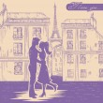 Happy couple in love on Paris street background — Stock Vector