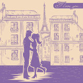 Happy couple in love on Paris street background — Stock Vector