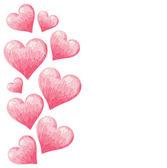 Hand drawn colorful Valentine hearts border — Stock Vector