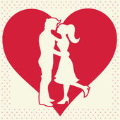 Lovers silhouette on heart background postcard — Stock Vector