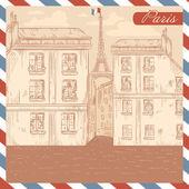 Cartolina di francia in stile retrò su sfondo cornice posta di aria — Vettoriale Stock