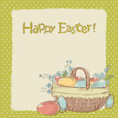 Vintage Easter card with basket full of colorful painted eggs — Stock Vector