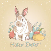 Easter bunny retro card with hand drawn painted eggs — Vecteur