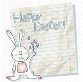 Easter cartoon bunny on a notebook scrap paper — Stock Vector