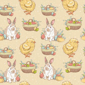 Easter vintage hand-drawn seamless pattern — Stock Vector