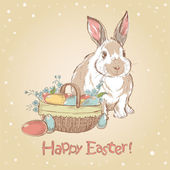 Easter retro card with cute hand drawn bunny — Stock Vector
