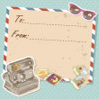 Air mail travel postcard with old grunge envelope - Stok Vektör