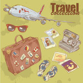 Travel objects collection with plane, suitcase and photo — Stock Vector