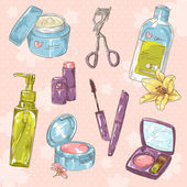 Set of make-up object cute girl collection — Stock Vector