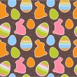 Stock Vector: Easter eggs and bunnies seamless pattern