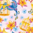 Dream seamless pattern with birds and golden cages - Stock Vector