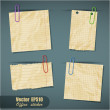 Set of realistic scraps of paper with clips isolated — Stock Vector