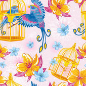 Dream seamless pattern with birds and golden cages — Stok Vektör