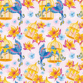 Dream seamless pattern with birds and golden cages — Vecteur