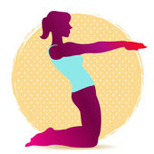 Colorful illustration of yoga asana silhouette for stretching — Stock Vector