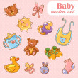 Stock Vector: Baby toys cute cartoon set on polkdot background