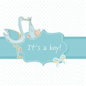 Cute baby boy announcement card with stork and child — Stock Vector