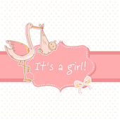 Cute baby girl announcement card with stork and child — Stock Vector