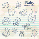 Baby toys cute cartoon set on notepaper — Stock Vector