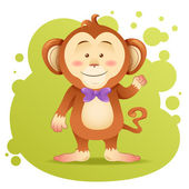 Cute cartoon monkey toy vector card — Stok Vektör
