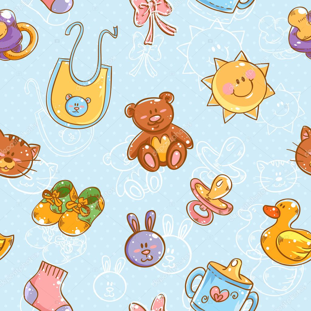 Cartoon Baby Toys : Baby toys cute cartoon set seamless pattern — stock vector