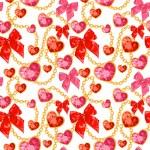 Shiny ruby heart pendants hanging seamless pattern — Stock Vector