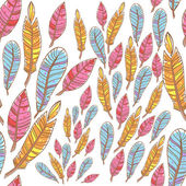 Colorful doodle feathers creative seamless pattern — Stock Vector