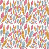 Doodle coloridas plumas creativas de patrones sin fisuras — Vector de stock