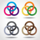 3D multicolored embracing metal ring shapes — Stock Vector