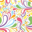 Colorful summer seamless pattern with floral curved elements - Stock Vector