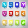 Zodiac astrological signs in colorful banners — Image vectorielle