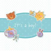 Baby born congratulation postcard — Stock Vector