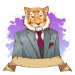 Stock Photo: Realistic cartoon tiger wearing tuxedo