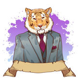 Realistic cartoon tiger wearing a tuxedo — Stock Photo