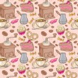 Sweet coffee and candies seamless pattern — Stock Vector
