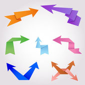 Colorful origami arrows made of folding paper — Stock Vector