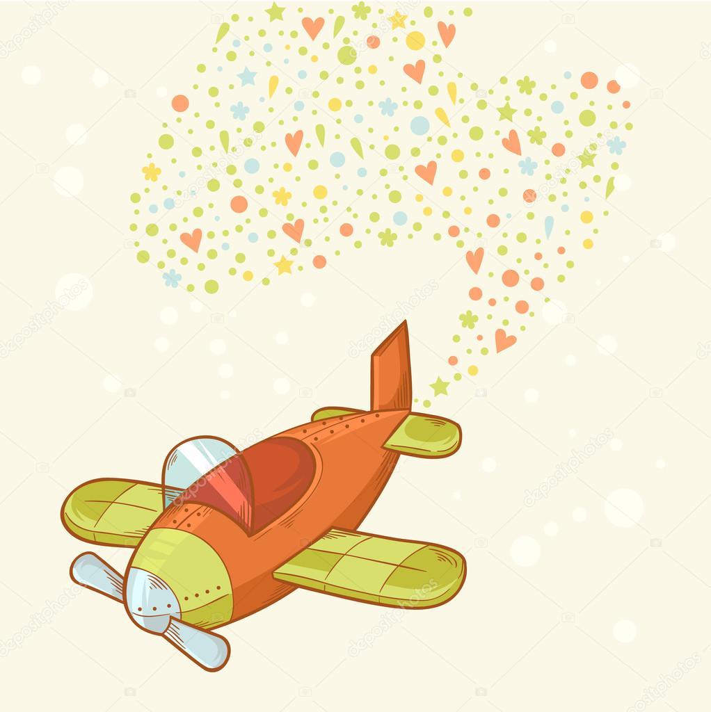 Disegnati a mano in aereo simpatico cartone animato
