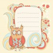 Stock Vector: Cute cartoon owl invitation fcard