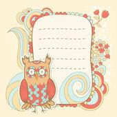 Söta tecknade uggla inbjudan fcard — Stockvektor