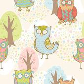 Cute cartoon owls fantasy coloful pattern — Stock Vector
