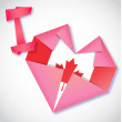 Origami paper I love Canada heart card — Stock Vector