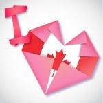 Origami paper I love Canada heart card — Stock Vector