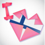 Origami paper I love Finland heart card — Stock Vector