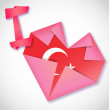 Royalty-Free Stock Vektorgrafik: Origami paper I love Turkey heart card
