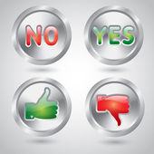 Yes and no, thumbs up and down metal buttons — Stock Vector